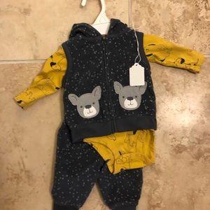 Bear 3 piece fleece outfit